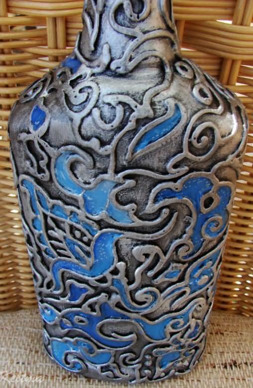 Декор бутылки шпаклевкой 4